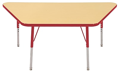"""30""""x60"""" Trapezoid T-Mold Activity Table, Maple/Red/Standard Swivel"""