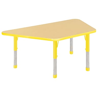 "30""x60"" Trapezoid T-Mold Activity Table, Maple/Yellow/Chunky"