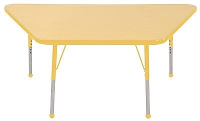 "30""x60"" Trapezoid T-Mold Activity Table, Maple/Yellow/Standard Ball"