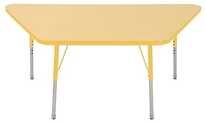 "30""x60"" Trapezoid T-Mold Activity Table, Maple/Yellow/Standard Swivel"
