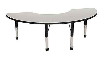 "36""x72"" Half Moon T-Mold Activity Table, Grey/Black/Chunky"