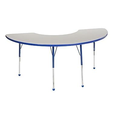 "36""x72"" Half Moon T-Mold Activity Table, Grey/Blue/Standard Ball"