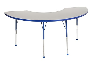 "36""x72"" Half Moon T-Mold Activity Table, Grey/Blue/Toddler Ball"