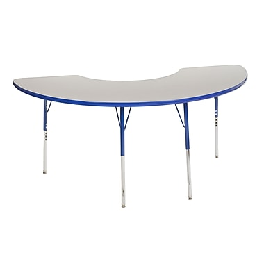 "36""x72"" Half Moon T-Mold Activity Table, Grey/Blue/Toddler Swivel"