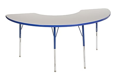 "36""x72"" Half Moon T-Mold Activity Table, Grey/Blue/Standard Swivel"