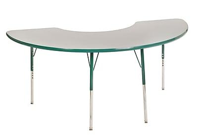 "36""x72"" Half Moon T-Mold Activity Table, Grey/Green/Toddler Swivel"