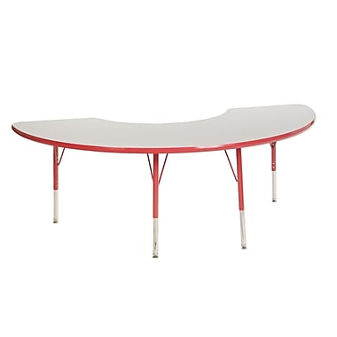 """36""""x72"""" Half Moon T-Mold Activity Table, Grey/Red/Toddler Swivel"""