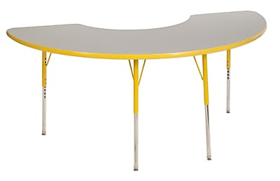 "36""x72"" Half Moon T-Mold Activity Table, Grey/Yellow/Standard Swivel"