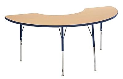 """36""""x72"""" Half Moon T-Mold Activity Table, Maple/Navy/Standard Swivel"""