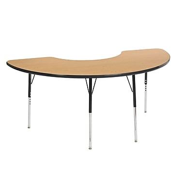 "36""x72"" Half Moon T-Mold Activity Table, Oak/Black/Standard Swivel"