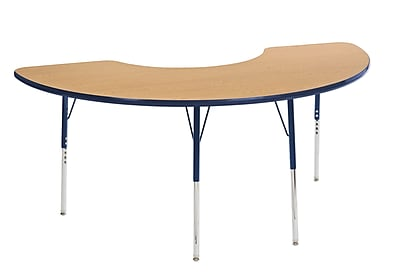 "36""x72"" Half Moon T-Mold Activity Table, Oak/Navy/Standard Swivel"