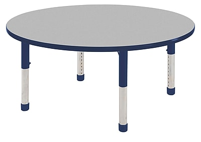 "30"" Round T-Mold Activity Table, Grey/Navy/Chunky"
