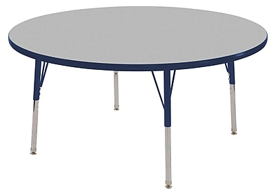"30"" Round T-Mold Activity Table, Grey/Navy/Standard Swivel"