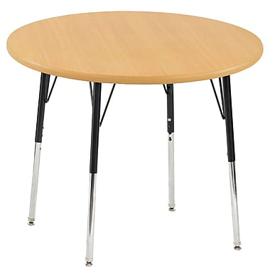 """30"""" Round T-Mold Activity Table, Maple/Maple/Black/Toddler Swivel"""