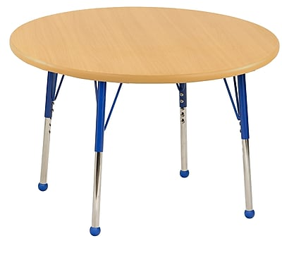 "30"" Round T-Mold Activity Table, Maple/Maple/Blue/Toddler Ball"