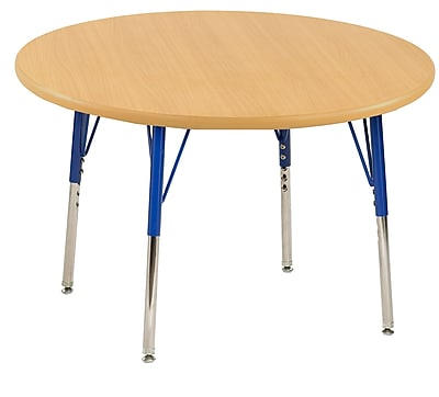 "30"" Round T-Mold Activity Table, Maple/Maple/Blue/Toddler Swivel"