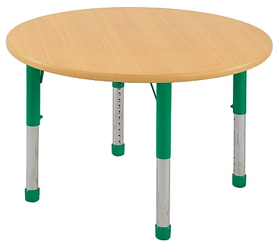 """30"""" Round T-Mold Activity Table, Maple/Maple/Green/Chunky"""