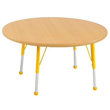"""30"""" Round T-Mold Activity Table, Maple/Maple/Yellow/Toddler Ball"""