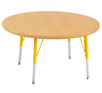 "30"" Round T-Mold Activity Table, Maple/Maple/Yellow/Standard Swivel"