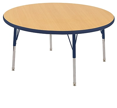 """30"""" Round T-Mold Activity Table, Maple/Navy/Toddler Swivel"""