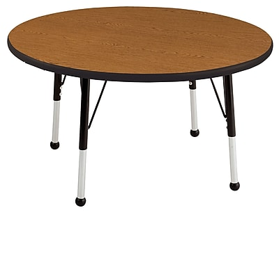 "30"" Round T-Mold Activity Table, Oak/Black/Toddler Ball"