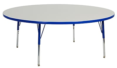"60"" Round T-Mold Activity Table, Grey/Blue/Toddler Swivel"