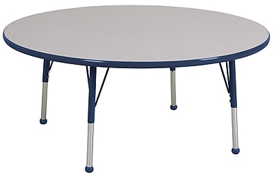 """60"""" Round T-Mold Activity Table, Grey/Navy/Toddler Ball"""