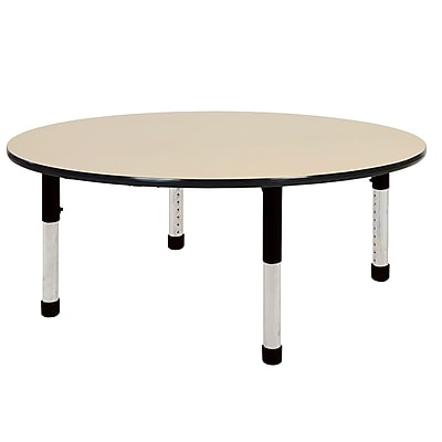 "60"" Round T-Mold Activity Table, Maple/Black/Chunky"