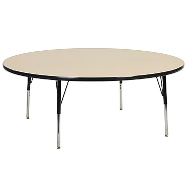 """60"""" Round T-Mold Activity Table, Maple/Black/Toddler Swivel"""