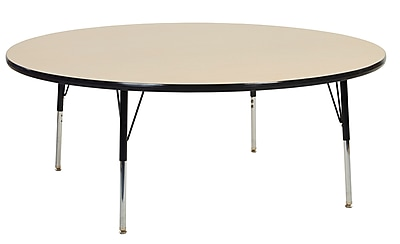 "60"" Round T-Mold Activity Table, Maple/Black/Toddler Swivel"