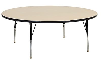 "60"" Round T-Mold Activity Table, Maple/Black/Standard Swivel"