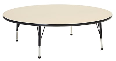 """60"""" Round T-Mold Activity Table, Maple/Black/Toddler Ball"""