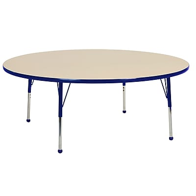 "60"" Round T-Mold Activity Table, Maple/Blue/Standard Ball"