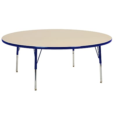 "60"" Round T-Mold Activity Table, Maple/Blue/Toddler Swivel"
