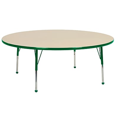 "60"" Round T-Mold Activity Table, Maple/Green/Toddler Ball"