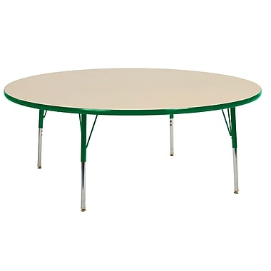 """60"""" Round T-Mold Activity Table, Maple/Green/Toddler Swivel"""