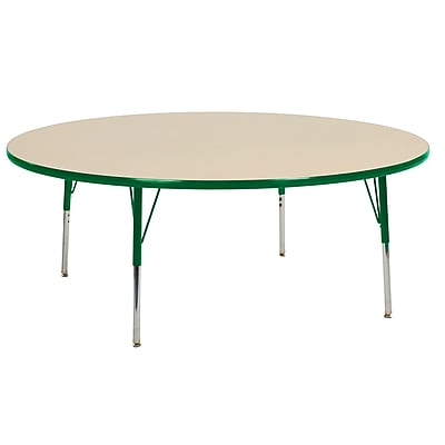 """60"""" Round T-Mold Activity Table, Maple/Green/Standard Swivel"""