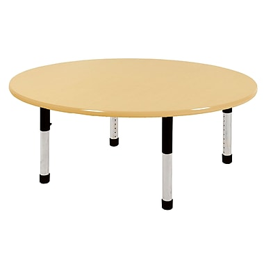 """60"""" Round T-Mold Activity Table, Maple/Maple/Black/Chunky"""