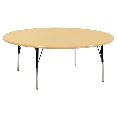 "60"" Round T-Mold Activity Table, Maple/Maple/Black/Toddler Swivel"