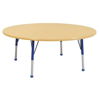 """60"""" Round T-Mold Activity Table, Maple/Maple/Blue/Standard Ball"""
