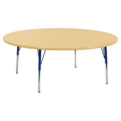 "60"" Round T-Mold Activity Table, Maple/Maple/Blue/Standard Swivel"