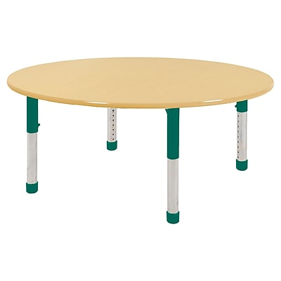 "60"" Round T-Mold Activity Table, Maple/Maple/Green/Chunky"