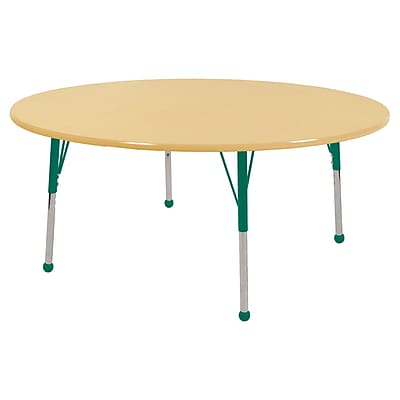 "60"" Round T-Mold Activity Table, Maple/Maple/Green/Toddler Ball"