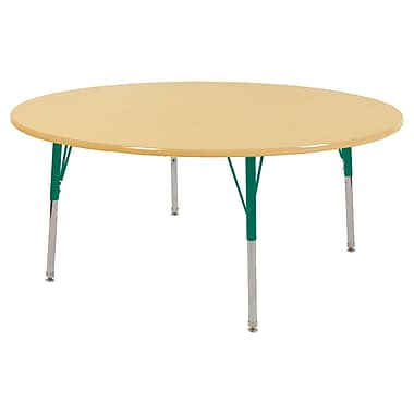 "60"" Round T-Mold Activity Table, Maple/Maple/Green/Toddler Swivel"