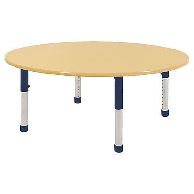 "60"" Round T-Mold Activity Table, Maple/Maple/Navy/Chunky"