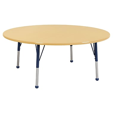 """60"""" Round T-Mold Activity Table, Maple/Maple/Navy/Toddler Ball"""