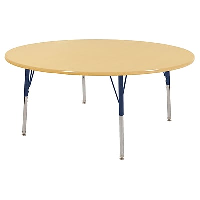 "60"" Round T-Mold Activity Table, Maple/Maple/Navy/Toddler Swivel"