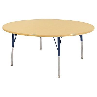 "60"" Round T-Mold Activity Table, Maple/Maple/Navy/Standard Swivel"