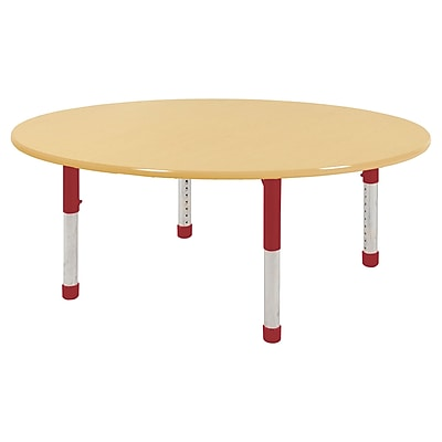 "60"" Round T-Mold Activity Table, Maple/Maple/Red/Chunky"