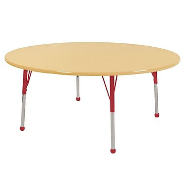 "60"" Round T-Mold Activity Table, Maple/Maple/Red/Standard Ball"